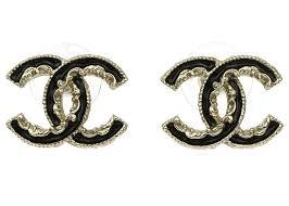 cc earrings chanel gold baroque enamel cc stud earrings chanel consignment