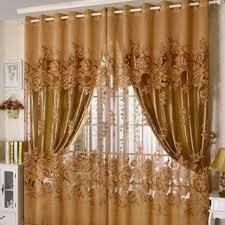 European Lace Curtains New Arrival Peony Pattern Pastoral Voile Curtain Window Valance