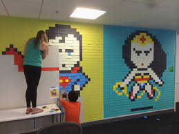 awesome office mural made with 8 024 post its best of web shrine superhero post it mural 15