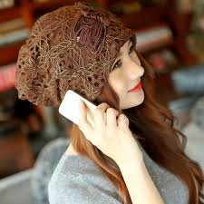 lace headwear fashion women butterfly knot cap flower beanies hat chiffon