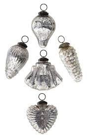 five large silver mirrored glass mercury ornaments by trinca ferro