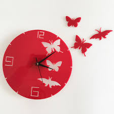 Design Clock by Diy Pink Black Butterflies And 3d Clock Mirror Wall Stickers