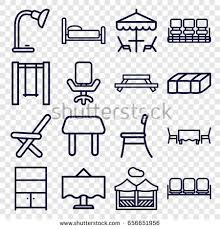 sofa table chair furniture icons set set 25 furniture stock vector 652842220