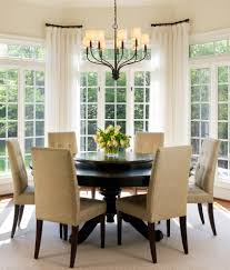 bay window curtain rods dining room transitional with upholstered