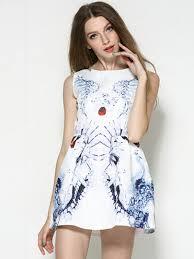 white vintga ice flowers print skater dress in store hight quality