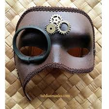 steunk masquerade mask brown steunk masquerade mask with monocle and gears tahlia s masks