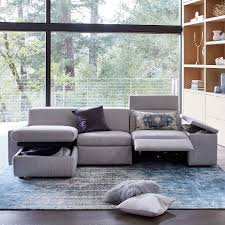 west elm reclining sofa enzo reclining 3 seater sectional with storage chaise west elm