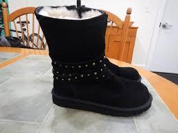 boots australia ugg australia ugg clovis shearling with studded wraps black boots
