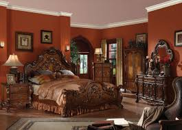 4 Piece Bedroom Furniture Sets Acme Dresden Traditional Arch Bedroom Set In Cherry Oak