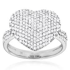 heart rings diamond images Ladies pave diamond heart ring 1 carat 14k yellow rose white gold jpg