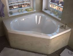Corner Soaking Tubs For Small Bathrooms High Gloss White Finish Center Drain Interior Of Tub Is A