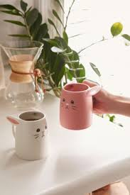 Urban Outfitters Kitchen - pink and white rabbit mug set rabbit urban and kitchen ware