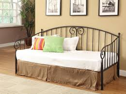 Black And White Valance Black Polished Iron Daybed With Brown Valance And White Bed Linen