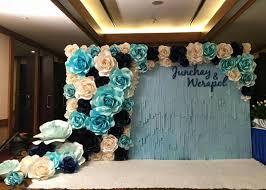 wedding backdrop blue paper flowers backdrop wedding backdrop paper flowers big