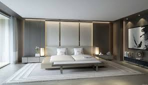bedroom white platform bed with wingback also wooden paneled walls