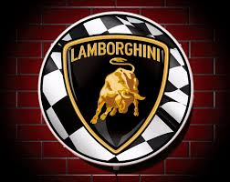 lamborghini symbol lamborghini led 600mm illuminated wall light car badge garage sign