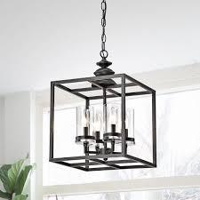Lantern Chandelier Lighting Clay Alder Home Verrarzano 4 Light Antique Black Lantern