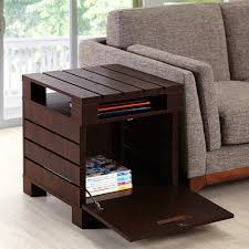 Living Room End Tables With Storage Crete Small Square Rustic Vintage Walnut Living Room