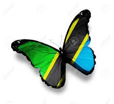 Tanzinia Flag United Republic Of Tanzania Flag Butterfly Isolated On White