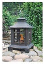 Outdoor Metal Fireplaces - outdoor fire pit patio backyard deck porch burning metal screen