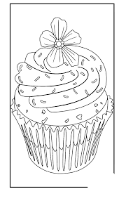 cupcake with flower on it coloring pages cookie coloring pages