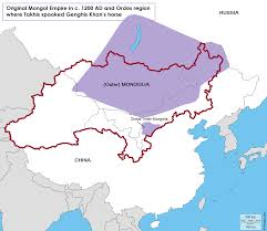 Mongol Empire Map Cradle Of Genghis Khan U0027s Mongol Empire And Ordos Region In C 1200