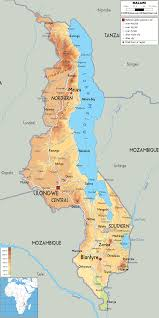 africa map malawi physical map of malawi ezilon maps