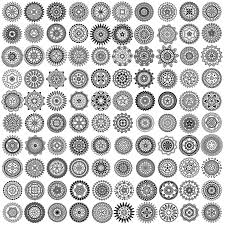 100 black mandala ornaments circles vector 1107201701