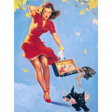 deco pin up pinup card scotty dog steals bra finders keepers