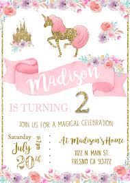 unicorn birthday party invitation invite magical princess pink and
