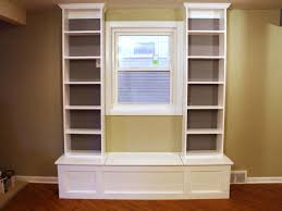 Free Built In Bookcase Woodworking Plans by How To Build A Window Bench With Shelving How Tos Diy