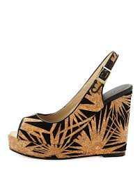 jimmy choo prova palm laser cut wedge sandal black