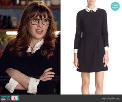 zooey deschanel new girl fashion wwzdw what would wornontv jess s black dress with white eyelet collar and cuffs on