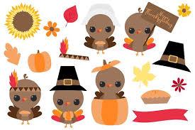 thanksgiving clip set illustrations creative market