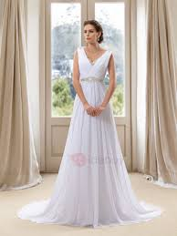 simple style beaded v neck white beach wedding dress tidebuy com