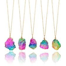 crystal necklace gold chain images 1 pcs colorful natural crystal chakra rock necklace irregular jpg