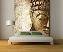 fabulous over sized buddha wall mural in gold accent 12