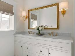 Gold Mirror Bathroom White Vanity With Gold Knobs And Oversized Round Black Mirror
