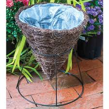 cone basket planter with stand at spring hill nurseries