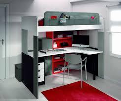 lit sureleve avec bureau chambres enfants de type modulable et gain de place