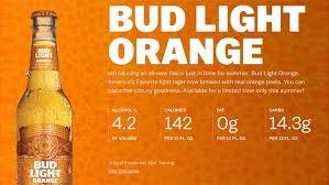 bud light beer alcohol content anheuser busch debuts summery new bud light orange fox news