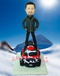 snowmobile driver figurine custom cake toppers personalised