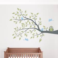 owl and four birds on a branch wall decal