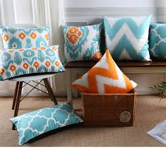 light blue pillow cases moroccan cushions covers velvet throw pillow geometric decorative
