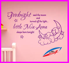 popular wall art stickers wall decal sticker children s bedroom nursery quotes goodnight said the moon for girls