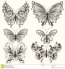 collection of abstract vector swirl butterflies for design stock