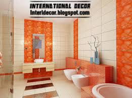 bathroom wall tile design orange wall tile designs ideas for modern bathroom