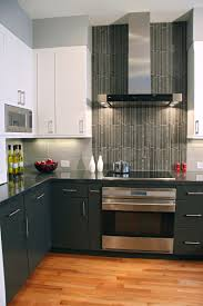 contemporary kitchen vertical tiles are a perfect accent for the