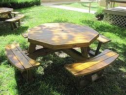 octagon picnic tables made by quality patio furniture