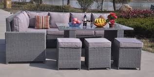 Outdoor Rattan Corner Sofa 9 Seater Grey Rattan Corner Dining Table Patio Set Furniture Maxi